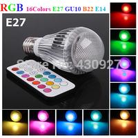 1pcs 16 Colors RGB LED Lamps 9W GU10 E27 E14 B22 Changeable Colorful Light LED Globe Lights Bulbs Lamps with IR Remote Control
