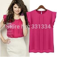 New 2013 Fashion blouses summer short-sleeve chiffon o-neck ruffled pleated sleeve chiffon shirt top women's Tee tops