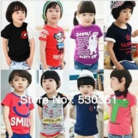 Special offer New 2014 children's t-shirt cartoon clothing short sleeve sport t-shirts 0-8 ages,1pc\lot,5size(can choose size)