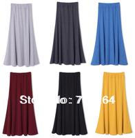 Women Girl Cotton Pleated Retro Long Elastic Waist Band Maxi Skirt Gray