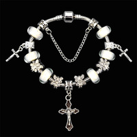 2014 New Arrival 925 Silver Bracelet ,European Cross Beads Charm Bracelets For Women,With Murano Glass Beads,Wholesale,PA072