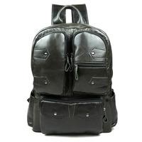 2015 New Vintage men backpack full grain oil-wax leather backpacks fashion casual men travel bags shoulder laptop bag