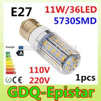 1pcs/lot New and hot selling 100-130V 200-240V 12W E27 5730SMD LED corn bulb lamp 36 LEDS Warm white /white led lighting