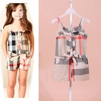 baby&girls UK design brand overalls girl's kids plaid rompers with belt for 2-6years girl children wear free shipping promotion