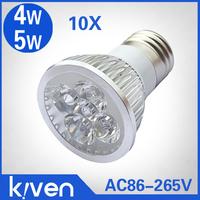 10pcs 4W 5w dimmable led spotlight E27 led bulb lamp E27 AC85-265V silver alumium lampcool white warm white spotlight outdoor