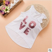 new 2015 kid girl fashion cotton sequined letter sleeveless vest t-shirts children cute bow summer casual t shirt wholesale lot