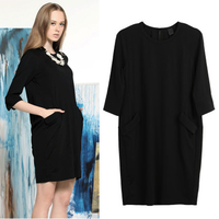 new 2014 spring summer  large size three quarter famouse brand casual tops women loose dress free shipping
