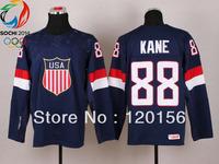 "2014 Sochi Olympic Team USA 88 Patrick Kane Blue Ice Hockey Jerseys Emboridered Logo New with IIHF tag Land of the Free Words"""
