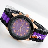 2014 Fashion Geneva Popular Silicone Quartz Watch Jelly Gel  Girl Women's  casual Wristwatch Candy Colors relojes wholesale