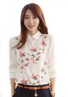 2014 Autumn Ol for Commuter Korean Loose Women Shirts Sleeve Female Printing Plus Size Chiffon Blouses Chifon Blusas Coreano