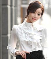 2014 Hot Autumn Korean New Chemise Women Blouses Long Sleeve Flounced Woman Puff Boetie Female Office Shirts Ladies Working Wear