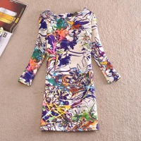 new 2014 autumn women slim plus size  floral dress /  print dress / size M,L,XL,XXL,3XL