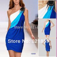 Oblique slit neckline sleeveless strapless one-piece dress blue black spring and summer dress sexy slim fashion 19498