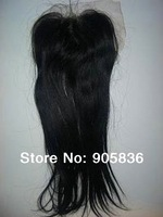 """Bleached natural black straight  brazilian virgin hair lace closure 4""""by5"""""""