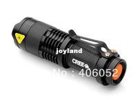 Free shipping 7W 300LM  led flashlight q5  Adjustable Focus Zoom min led torch 10pcs/lot