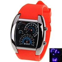 Hot Sale RPM Turbo Blue Flash LED Mens Sports Car Meter Dial Watch Wrist Watch Free Shipping