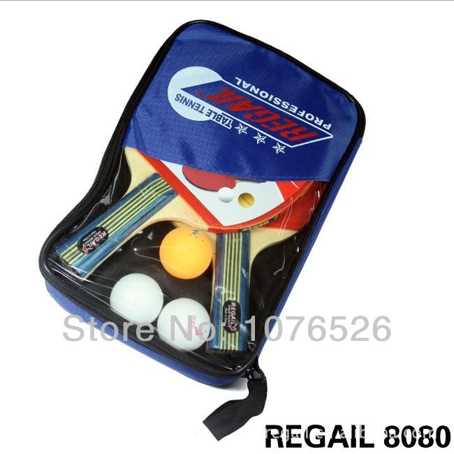 Table Tennis Set 2 Racket + 3 Ball + 1 Racket Pouch Long Handle Shake-hand Pingpong Paddle Balls Sports Accessories Tennis Bag(China (Mainland))