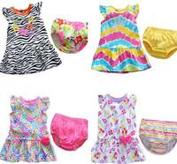 Retail Baby Girls Dress children's clothing summer flower girls Leopard dress+Bread PP shorts pants Kids infant garden Style