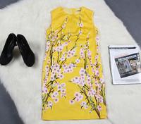 2014 new runway autumn fashion brief elegant Italy brand Peach Flower printing slim plus size one-piece dress S,M,L,XL,XXL 1332