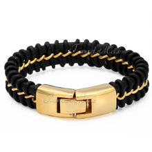 16mm Wide Chunky Mens Boys Stylish Gold Stainless Steel Black Leather Braided Bracelet Bangle 22.2cm(8.74inch) UB87
