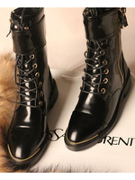 2014 Full leather flats women's genuine leather shoe motorcycle boots martin boot  fashion lady's her shoes 4