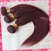 Ali POP hair peruvian virgin hair straight 99j burgundy color 3pcs lot peruvian virgin hair 100% human hair extension thick ends