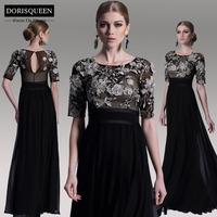 DORISQUEEN free shipping 2015 latest design elegant applique formal half sleeve party black high slit style long evening dress