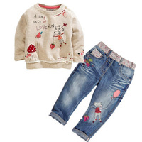 Kids autumn fashion clothes for girls Cartoon long-sleeved sweater + jeans suit grils student clothes NEXT