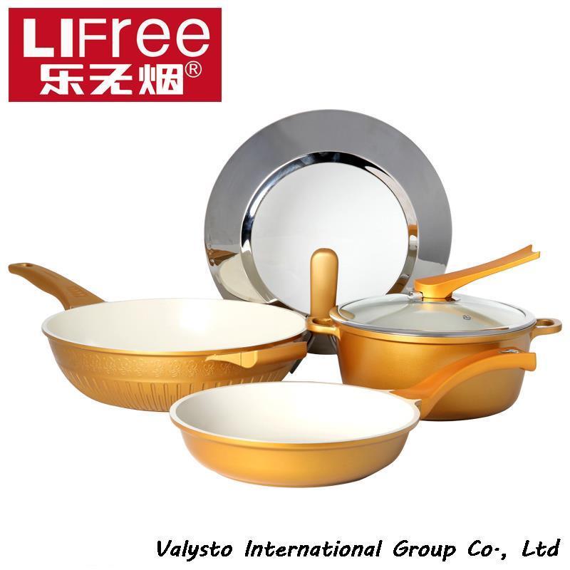 Music smokeless pots and pans set non-stick wok ceramic soup pot smoke flat bottom pot pots and pans(China (Mainland))