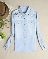 High Quality 2014 New Hot Women Fashion Retro Long sleeve Vintage Blue Jeans Denim Loose Shirt Tops Blouses Rivet Casual Womans