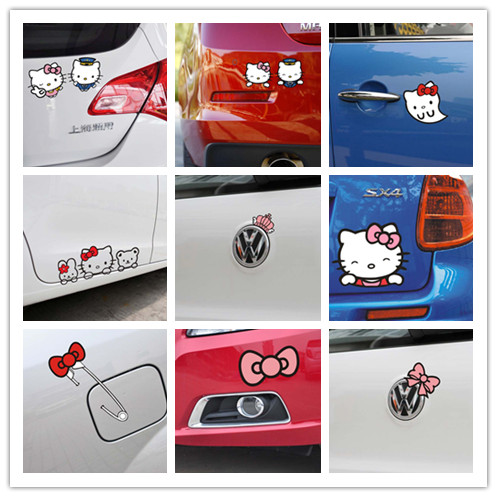 Free Shipping Cartoon Hello Kitty car Sticker for car Body door mirrors windows car stickers car styling(China (Mainland))