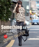 2014 New Fashion Women's Leopard Print Batwing Long Sleeve Casual Sweater Loose Pullover Jumper For Winter 19214;)