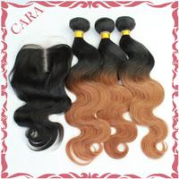 RosaQueen hair products Ombre Brazilian virgin hair gaga hair body wave 1pcs lace closure with 3pcs TwoTone #1b/#30 hair bundles