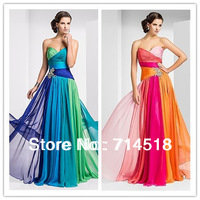 2014 New Arrival Formal colorful Prom Gown Strapless Beaded Long Blue Green New Fashion 2014 Long Evening Dresses Evening Gowns