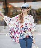 Wholesale 2014 spring summer blouse new fashion chiffon blouses shirts women stripe casual batwing top plus size XL.L 10 style