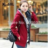 Women's Coat Plus Size xl-5xl 6xl(bust 50 inch) Woman Cardigan 2014 New Autumn Winter Casual Dress Warm Jackets Sweatshirts