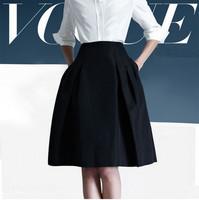 skirts womens new 2014 fashion winter skirts OL work skirt slim high waist knee-length dark blue a-line pleated skirt