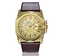 free & drop shipping 1pcs retail 2015 Newest Hot Sales fashion high quality men watch gifts leather brand quartz wristwatch