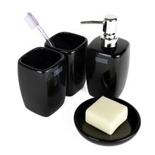 Brief style ceramic bathroom set  4 pieces set  bathroom supplies smooth outline cuboid shape white beige black colors(China (Mainland))