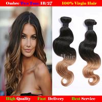 ombre hair extensions two tone brazilian body wave gaga hair 1b/27 brazillian remy hair free shipping brizilian human hair weave
