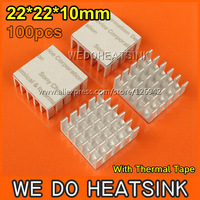 Free Shipping 100Pcs/Lot 22*22*10 mm CPU Radiator Heatsink For Plastic BGA PGA Packages With Thermally Conductive Adhesive Tape