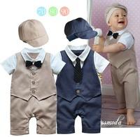 [LOONGBOB]2014 NEW baby romper boy's romper bebe  2 pieces romper set Hat+ vest romper gentleman bebe sleepsuits infants wearing