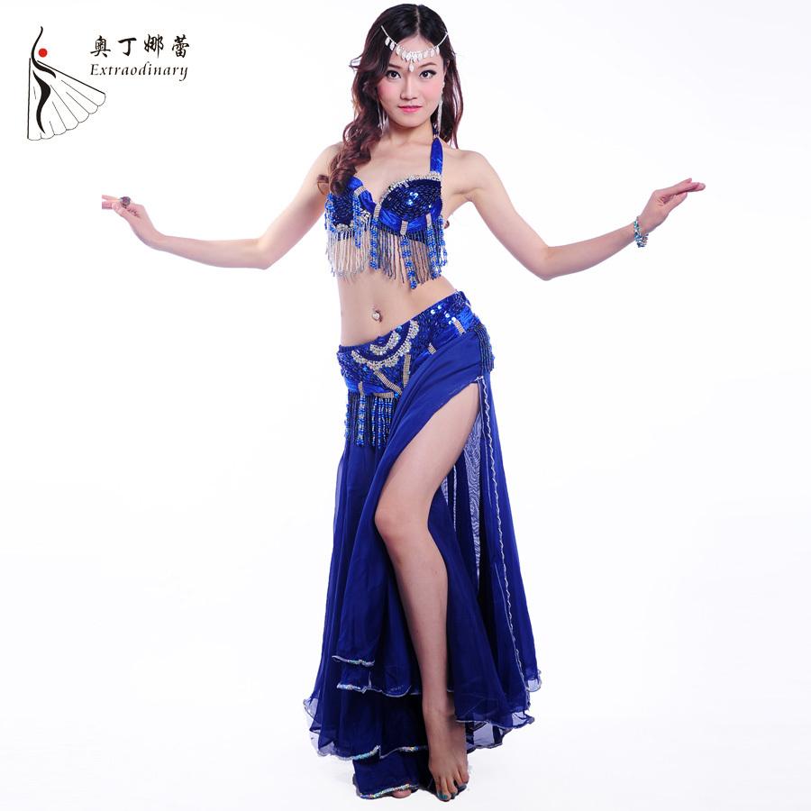 Danza del ventre vestito chiffon con perline prestazioni del ventre vestito da donna danza del ventre costumi 3 pezzi più colori #wj00098- 1