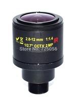 2.0megapixel  M12 Fixed Iris 2.8-12mm varifocal IP camera IR CCTV lens,F1.4,manual focus zoom,view angle90~28degree,M14 optional