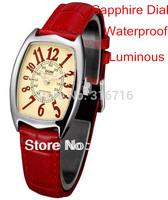 Woman Watches 2014 Luxury Sapphire Dial Fashion Casual Quartz Women Wristwatches,Luminous Women Dress Colock Leather strap Watch