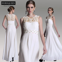 DORISQUEEN free shipping ready to wear Sleeveless Lace A-line white long Beaded evening dresses women