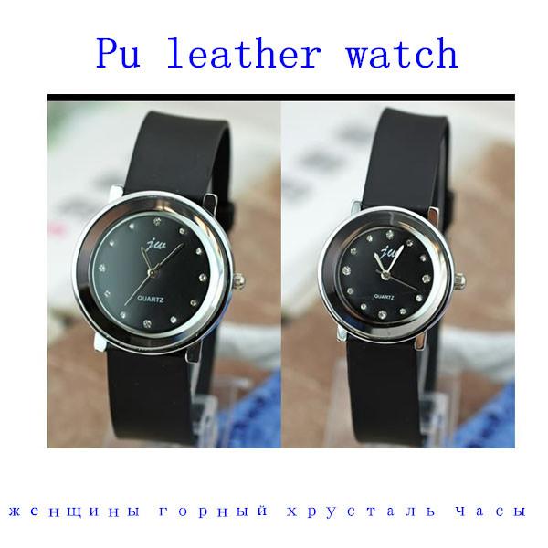 2014 New item high quality Pu leather strap watch women rhinestone watches men sports wrist watch quartz analog wristwatch(China (Mainland))