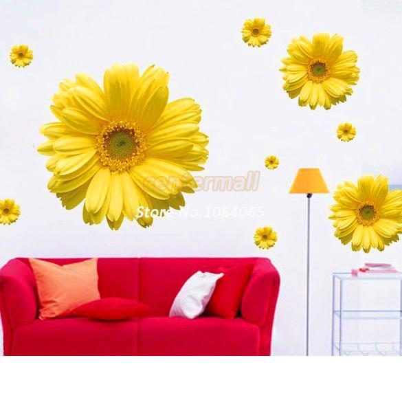New Decorative Combination DIY Flower Wall Sticker Chrysanthemum Yellow Daisy Art Decor Home Bedroom Stickers 4681(China (Mainland))