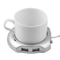 1 pcs Silver 4 Port USB Hub + Tea Coffee Beverage Cup Electric Warmer Heater