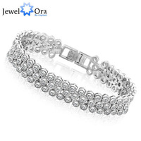 Rhodium Plated Bracelets & Bangles For Women 2014  #BA100986 Jewelry  Exquisite AAA Cubic Zirconia Charms Bracelets